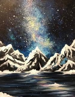 a paint & sip painting of Celestial Mountains