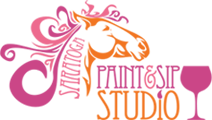 Saratoga Paint & Sip Studio pink & orange logo on a transparent background