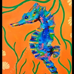 saratoga paint and sip seahorse kid party