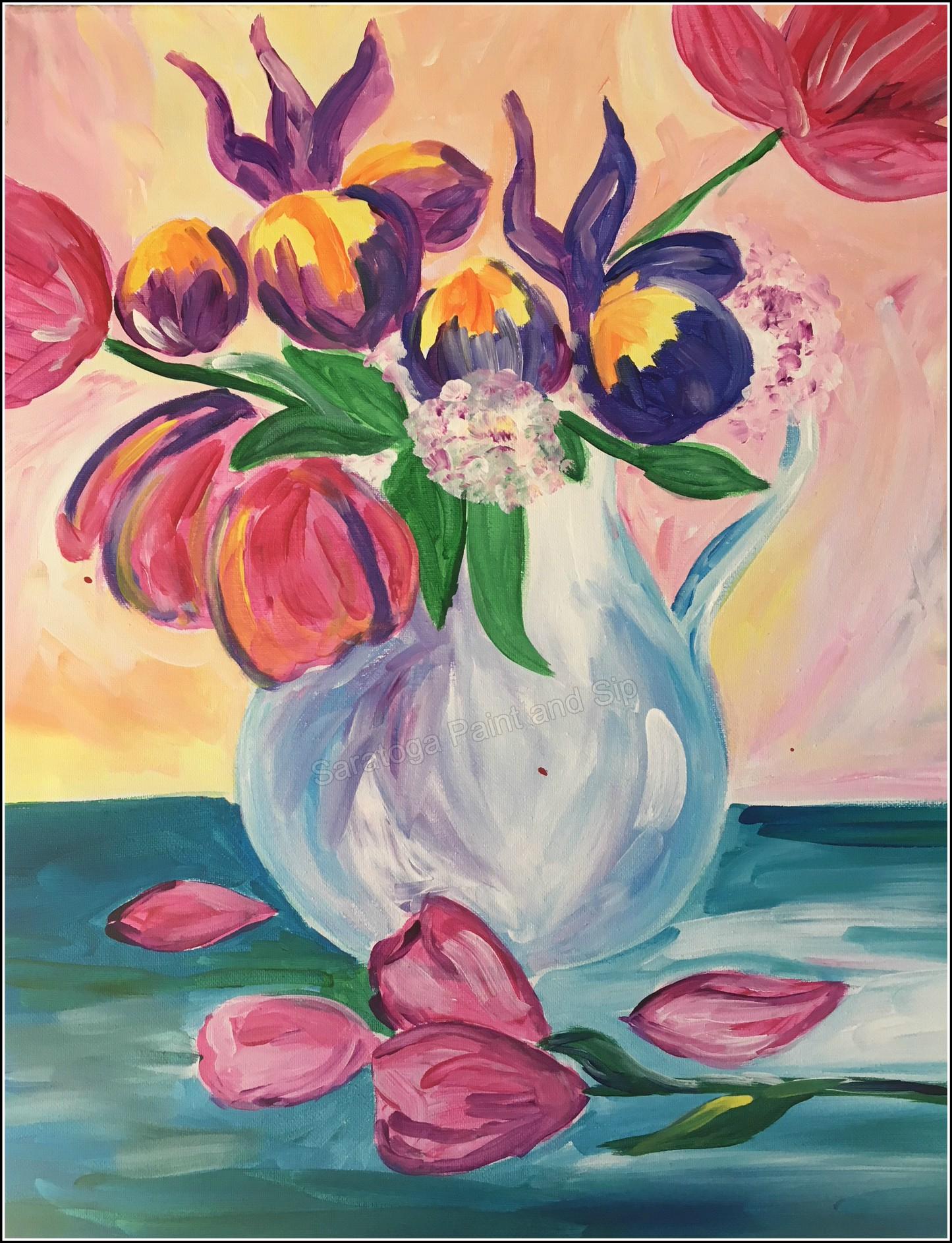 Vase Of Flowers Saratoga Paint And Sip Studio