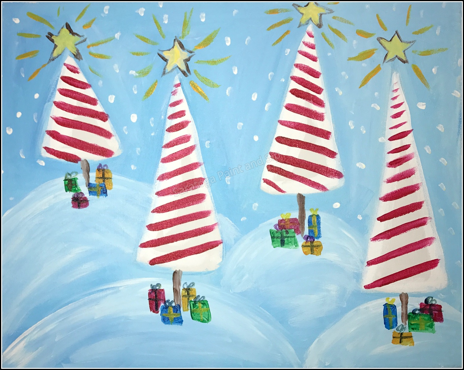 Candy Cane Forest Saratoga Paint And Sip Studio